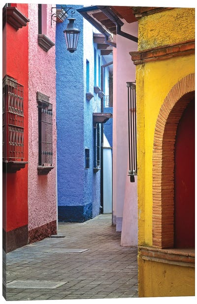 Mexico, Veracruz State. Colorful colonial architecture.  Canvas Art Print