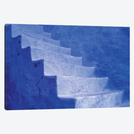 North Africa, Morocco, Chefchaouen. Blue stairs and wall.  3-Piece Canvas #JYG318} by Jaynes Gallery Art Print