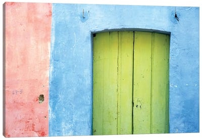 South America, Brazil. Colorful house exterior and door.  Canvas Art Print