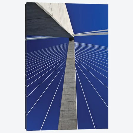 USA, South Carolina, Charleston. Looking up at Arthur Ravenel Jr. Bridge structure. Canvas Print #JYG321} by Jaynes Gallery Canvas Artwork