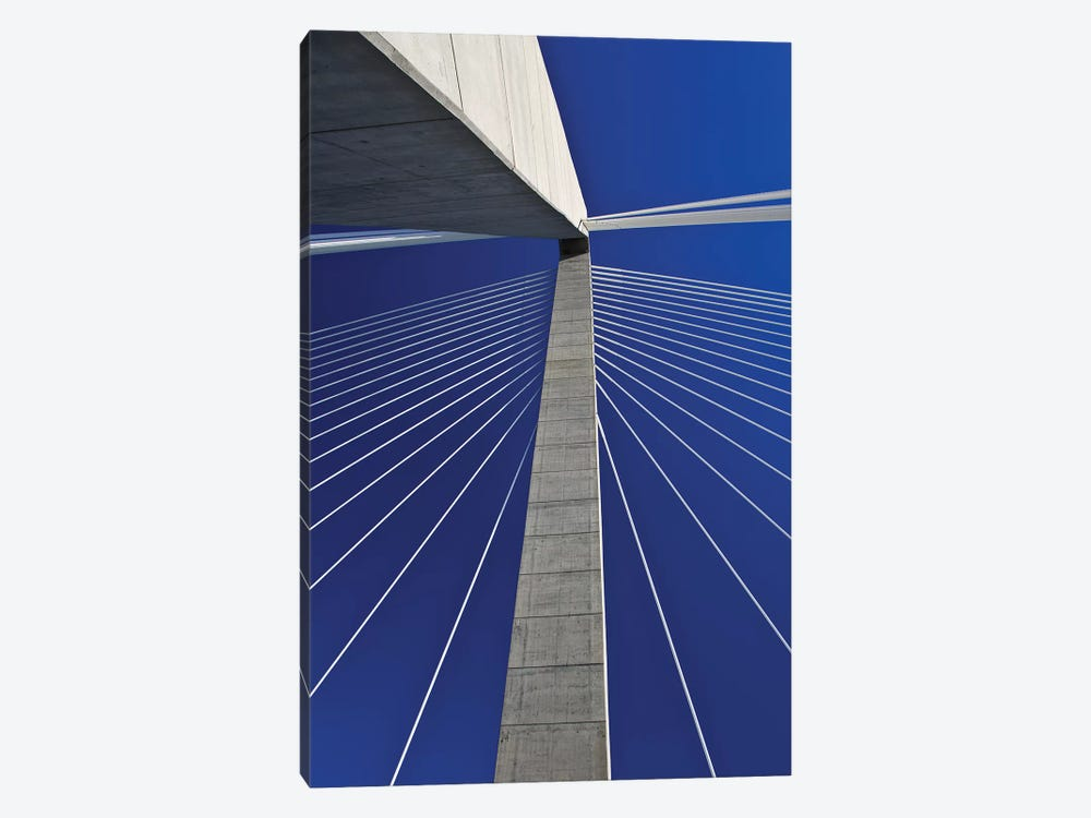 USA, South Carolina, Charleston. Looking up at Arthur Ravenel Jr. Bridge structure. by Jaynes Gallery 1-piece Canvas Print