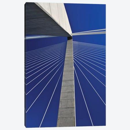 USA, South Carolina, Charleston. Looking up at Arthur Ravenel Jr. Bridge structure. Canvas Print #JYG321} by Jaynes Gallery Canvas Artwork