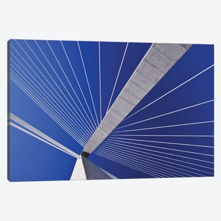 USA, South Carolina, Charleston. Looking up at Arthur Ravenel Jr. Bridge structure. Canvas Print #JYG322} by Jaynes Gallery Canvas Wall Art