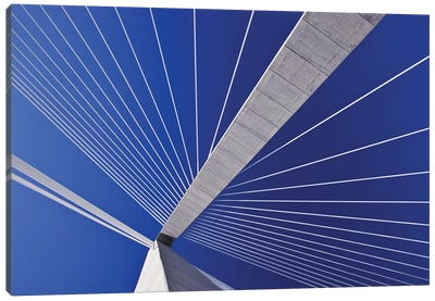 USA, South Carolina, Charleston. Looking up at Arthur Ravenel Jr. Bridge structure. Canvas Art Print