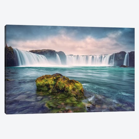 Iceland, Godafoss. Waterfall at sunrise. Canvas Print #JYG37} by Jaynes Gallery Canvas Art