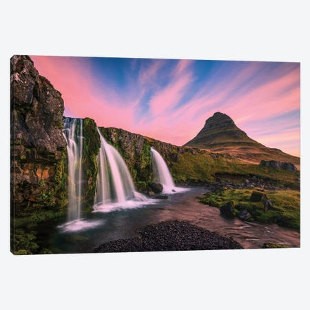 Iceland, Kirkjufellsfoss. Waterfall at sunrise. Canvas Print #JYG38} by Jaynes Gallery Canvas Art Print