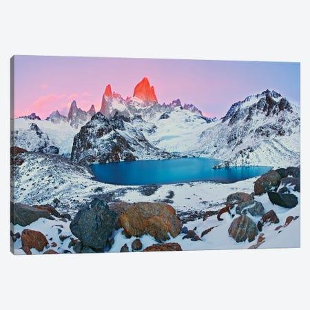 Argentina, Patagonia, Los Glaciares NP. Sunrise on Mount Fitz Roy and Laguna de los Tres. Canvas Print #JYG404} by Jaynes Gallery Canvas Wall Art