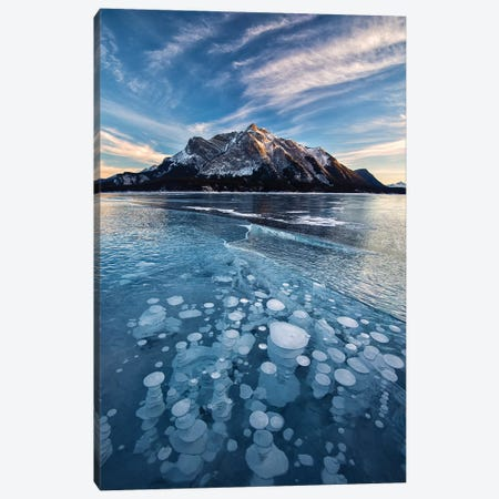 Canada, Alberta, Abraham Lake. Ice bubbles in lake at sunset. Canvas Print #JYG405} by Jaynes Gallery Canvas Artwork