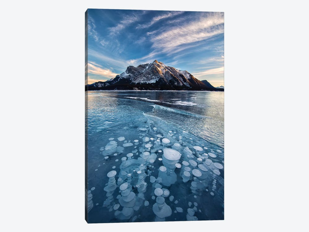Canada, Alberta, Abraham Lake. Ice bubbles in lake at sunset. by Jaynes Gallery 1-piece Canvas Art