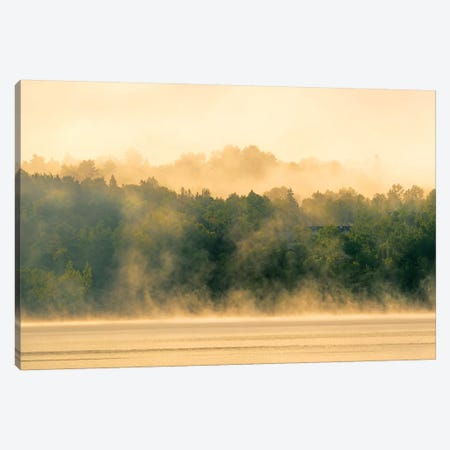 Canada, New Brunswick, Mactaquac. Morning fog on Saint John River at sunrise. Canvas Print #JYG444} by Jaynes Gallery Canvas Wall Art