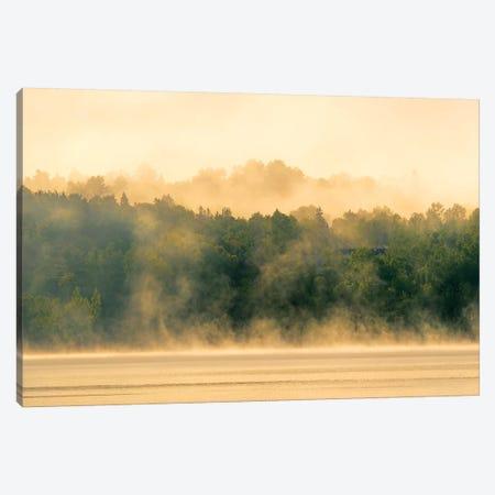 Canada, New Brunswick, Mactaquac. Morning fog on Saint John River at sunrise. Canvas Print #JYG444} by Jaynes Gallery Canvas Wall Art