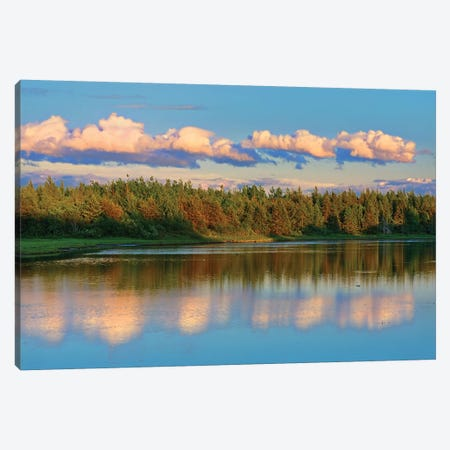 Canada, New Brunswick, Richibucto. Clouds reflected in an inlet at sunset. Canvas Print #JYG445} by Jaynes Gallery Canvas Art