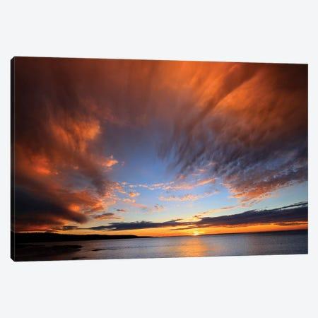 Canada, Nova Scotia, Fox Island. Sunset on Chedabucto Bay. Canvas Print #JYG450} by Jaynes Gallery Canvas Wall Art