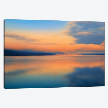 Canada, Ontario, Algonquin Provincial Park. Sunrise and fog on Lake of Two Rivers. Canvas Print #JYG454} by Jaynes Gallery Canvas Print