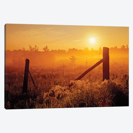 Canada, Ontario, Estaire. Fence at sunrise in fog. Canvas Print #JYG458} by Jaynes Gallery Canvas Artwork