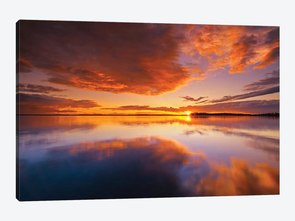 Canada, Ontario, Pakwash Lake Provincial Park. Clouds reflected in Pakwash Lake at sunset. by Jaynes Gallery 1-piece Canvas Wall Art