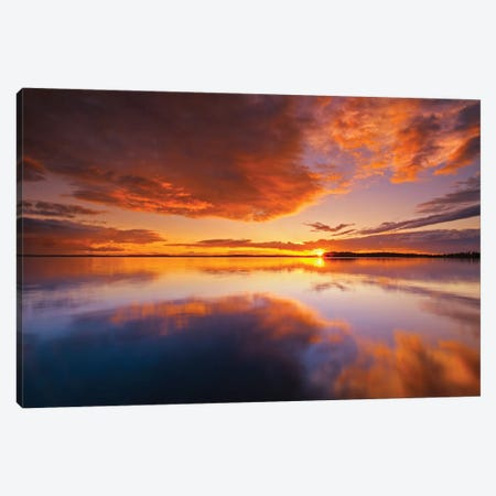 Canada, Ontario, Pakwash Lake Provincial Park. Clouds reflected in Pakwash Lake at sunset. Canvas Print #JYG465} by Jaynes Gallery Canvas Artwork