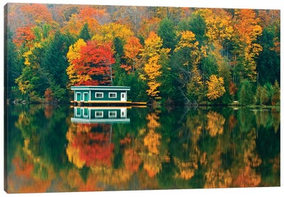 Canada, Ontario, Rosseau. Boathouse and reflection in autumn. Canvas Art Print