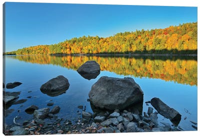 Canada, Ontario. Autumn reflections on St. Nora Lake. Canvas Art Print