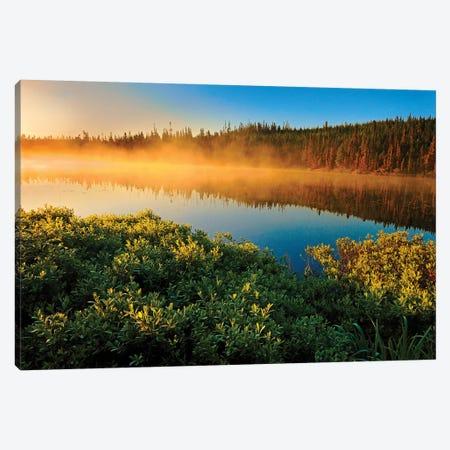 Canada, Quebec, Lac A Thompson. Sunrise mist on lake. Canvas Print #JYG480} by Jaynes Gallery Canvas Art Print
