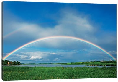 Canada, Quebec, St. Gedeon. Rainbow after storm. Canvas Art Print