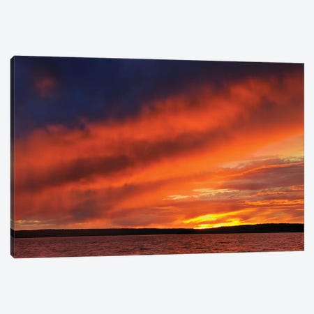 Canada, Saskatchewan, Prince Albert National Park. Storm on Waskesiu Lake at sunset. Canvas Print #JYG496} by Jaynes Gallery Canvas Print