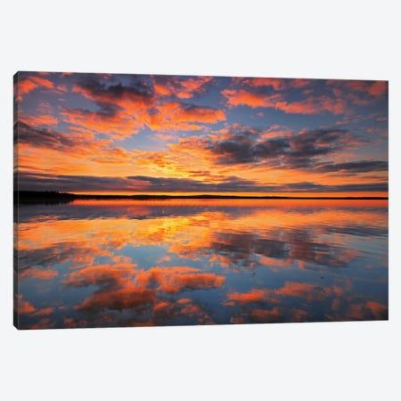 Canada, Saskatchewan, Prince Albert National Park. Sunrise on Namekus Lake. Canvas Print #JYG497} by Jaynes Gallery Art Print
