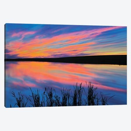 Canada, Saskatchewan, Viscount. Sunset reflected in pond. Canvas Print #JYG498} by Jaynes Gallery Canvas Artwork