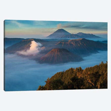 Indonesia, East Java. Overview of Mt. Bromo and Mt. Merapi. Canvas Print #JYG49} by Jaynes Gallery Canvas Art
