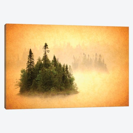Canada. Abstract of islands in lake mist. Canvas Print #JYG505} by Jaynes Gallery Art Print