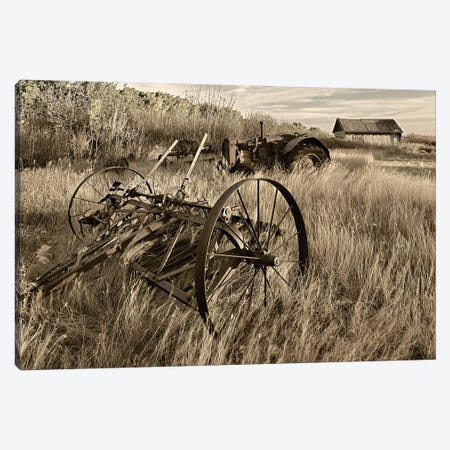 Canada. Sepia Photo Of Old Farm Machinery In Field. Canvas Print #JYG506} by Jaynes Gallery Art Print