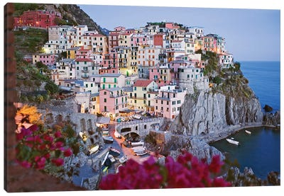 Italy, Manarola. Town and sea at sunset I Canvas Art Print