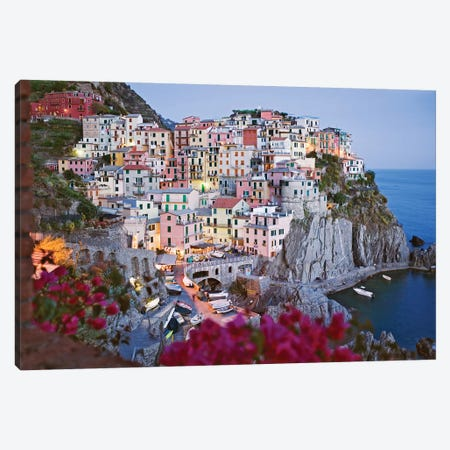Italy, Manarola. Town and sea at sunset I Canvas Print #JYG50} by Jaynes Gallery Canvas Art Print