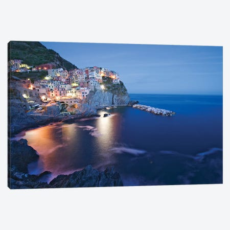 Italy, Manarola. Town and sea at sunset II 3-Piece Canvas #JYG51} by Jaynes Gallery Canvas Print