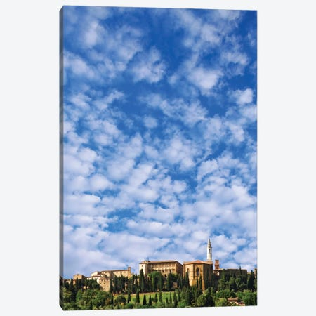 Italy, Pienza. Landscape and hilltop town. Canvas Print #JYG52} by Jaynes Gallery Canvas Art Print