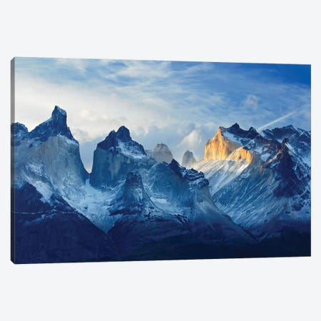 Chile, Patagonia, Torres del Paine National Park, Los Cuernos sunset. Canvas Print #JYG542} by Jaynes Gallery Canvas Artwork