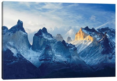 Chile, Patagonia, Torres del Paine National Park, Los Cuernos sunset. Canvas Art Print