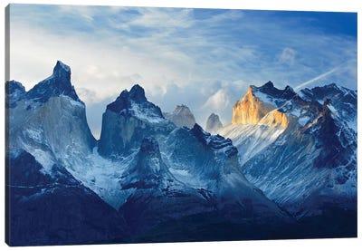 Chile, Patagonia, Torres del Paine National Park, Los Cuernos sunset. Canvas Art Print