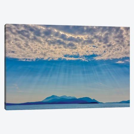 Croatia, Korcula. God rays and island. Canvas Print #JYG543} by Jaynes Gallery Canvas Artwork