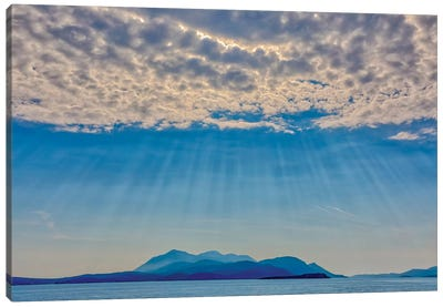 Croatia, Korcula. God rays and island. Canvas Art Print