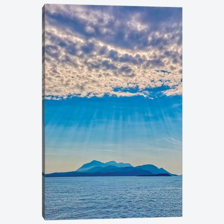 Croatia, Korcula. God rays and island. Canvas Print #JYG544} by Jaynes Gallery Canvas Print