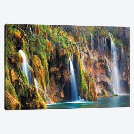 Croatia, Plitvice Lakes National Park. Waterfalls into stream.  Canvas Print #JYG545} by Jaynes Gallery Art Print