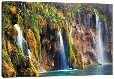 Croatia, Plitvice Lakes National Park. Waterfalls into stream.  Canvas Art Print
