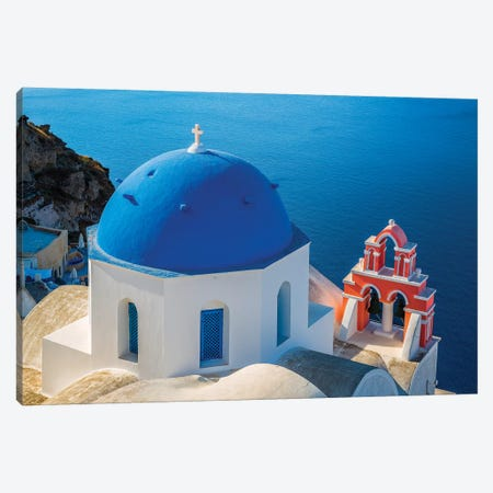 Greece, Oia. Greek Orthodox church and ocean.  Canvas Print #JYG554} by Jaynes Gallery Canvas Art