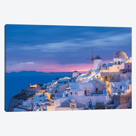 Greece, Oia. Greek Orthodox church and village at sunset.  3-Piece Canvas #JYG555} by Jaynes Gallery Canvas Art
