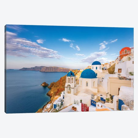 Greece, Oia. Greek Orthodox church and village.  Canvas Print #JYG556} by Jaynes Gallery Canvas Art