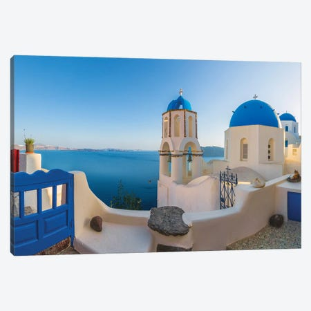 Greece, Oia. Sunrise on Greek Orthodox church and village.  Canvas Print #JYG557} by Jaynes Gallery Canvas Art