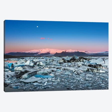 Iceland, Jokulsarlon Glacier. Autumn sunrise on glacier. Canvas Print #JYG558} by Jaynes Gallery Canvas Art Print