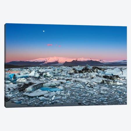 Iceland, Jokulsarlon Glacier. Autumn sunrise on glacier. Canvas Print #JYG558} by Jaynes Gallery Canvas Art Print
