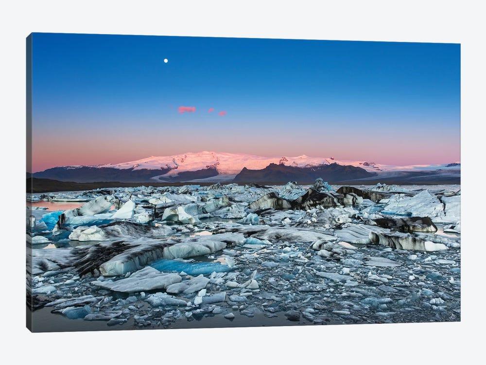 Iceland, Jokulsarlon Glacier. Autumn sunrise on glacier. by Jaynes Gallery 1-piece Canvas Art Print